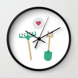 Spade and  Rake in love Wall Clock