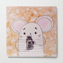 mouse with old camera  Metal Print
