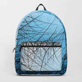 Cyan Linear Crosshatch Backpack