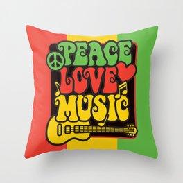 Rasta Peace Love Music Throw Pillow