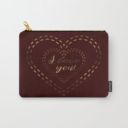 Royal Gold Burgundy I love You Typography Carry-All Pouch