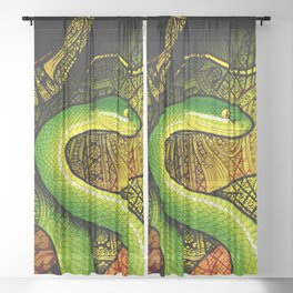 White-Lipped Pit Viper Sheer Curtain