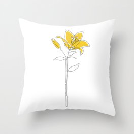 Mustard Lily Throw Pillow