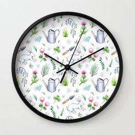 Garden Rabbits Wall Clock