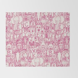 animal ABC pink ivory Throw Blanket