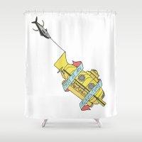 steve zissou Shower Curtains featuring This Is An Adventure | The Life Aquatic with Steve Zissou by Scott Erickson