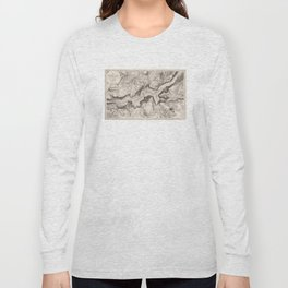Vintage Map of Yosemite Valley (1870) Long Sleeve T-shirt