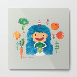 Broccoli Veggie Monster Metal Print