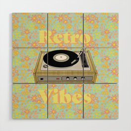 Retro Vibes Record Player Design in Yellow Wood Wall Art