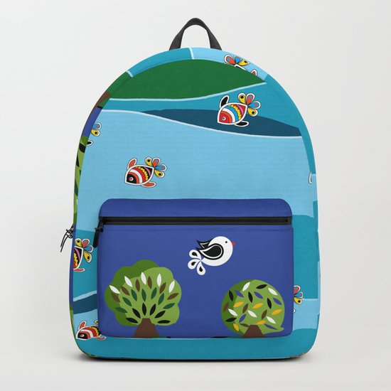 river and fish Backpack