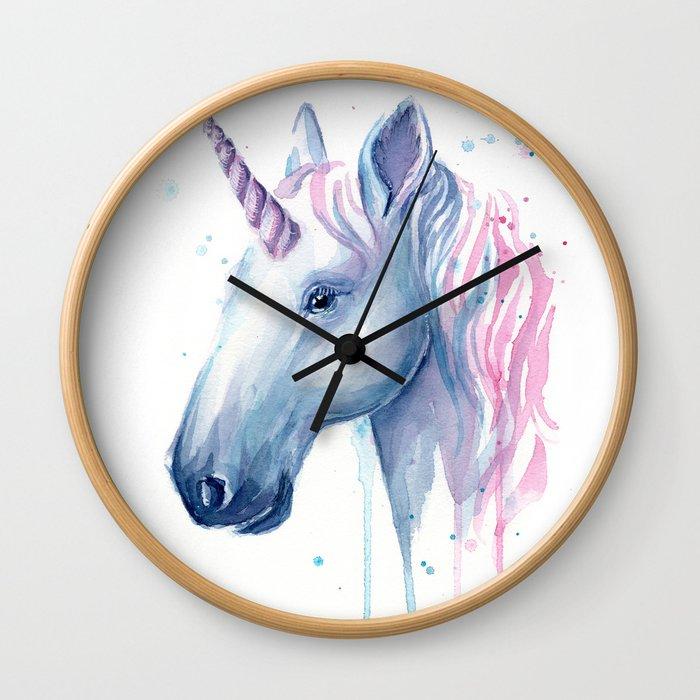 Blue Pink Unicorn Wall Clock
