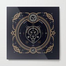 Leo Zociac Golden and White on Black Background Metal Print