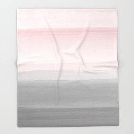 Touching Blush Gray Watercolor Abstract #4 #painting #decor #art #society6 Throw Blanket