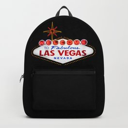 Vintage Welcome to fabulous Las Vegas sign at night Backpack