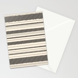 Textured Mesh Stripes in Black and Almond Cream  Stationery Cards