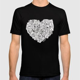 Camera Heart - on red T-shirt