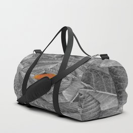 Orange Leaf On Grey And Silver Leaves - Beautiful Background - Autumn mood - #Society6 #buyart Duffle Bag