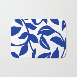 PALM LEAF VINE SWIRL BLUE AND WHITE PATTERN Bath Mat