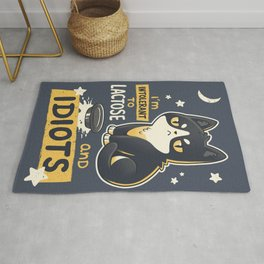 Intolerant to Lactose and Idiots // Sassy Kitten, Kawaii Angry Black Cat Rug