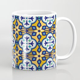 Yellow and Blue Moroccan Tile Coffee Mug
