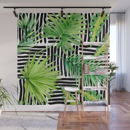 Tropical Leaves Watercolor on Black and White Pattern Wall Mural