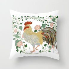 Rooster and morning glory Throw Pillow