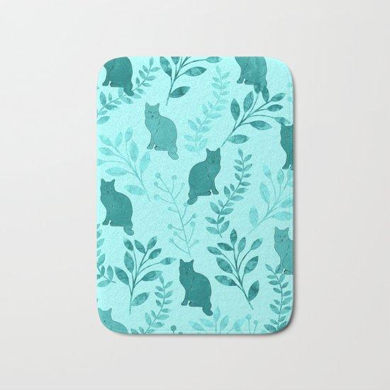 Watercolor Floral and Cat VIII Bath Mat