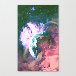 Space Earth Watercolor Canvas Print
