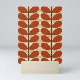 Mid Century Danish Leaves, Rust Brown and Beige Mini Art Print