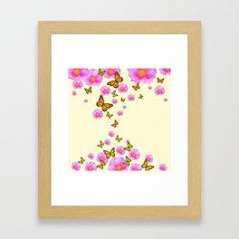 ABSTRACT PINK ROSES & MONARCH BUTTERFLIES Framed Art Print
