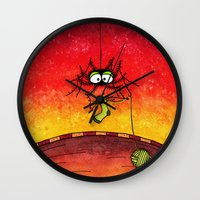 knitting Wall Clocks featuring Knitting Spider by Frank