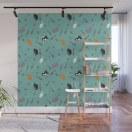 Cat Party Catnip Illustrated Print Pattern Wall Mural