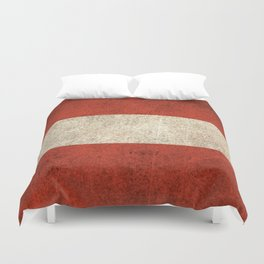 Old and Worn Distressed Vintage Flag of Austria Duvet Cover