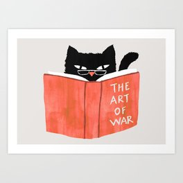 Cat reading book Art Print