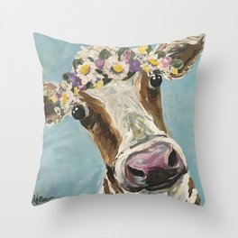 Flower Crown Cow Art, Cute Cow With Flower Crown Throw Pillow