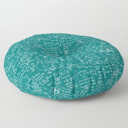 Physics Equations // Teal Floor Pillow