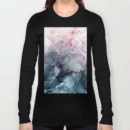 Blush and Payne's Grey Flowing Abstract Painting Long Sleeve T-shirt