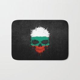 Flag of Bulgaria on a Chaotic Splatter Skull Bath Mat