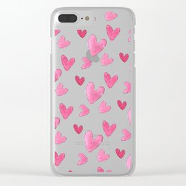 Be my valentine blush pink vector romantic heart pattern Clear iPhone Case