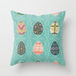 Floral Easter Eggs - Aqua Throw Pillow