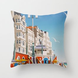 Brighton Travel Poster Throw Pillow