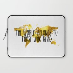 The World Belongs to those Who Read - Gold Laptop Sleeve