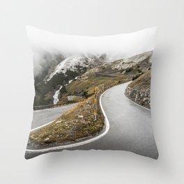 Hairpin Turn on Stelvio Pass Mountain Road Throw Pillow