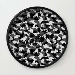 Camouflage Digital Black and White Wall Clock
