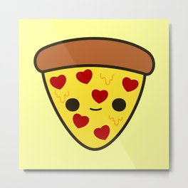 Cute pizza with heart toppings Metal Print