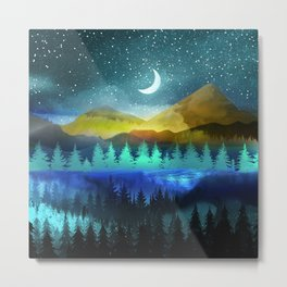 Silent Forest Night Metal Print