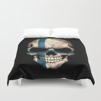 finland Duvet Covers featuring Dark Skull with Flag of Finland by Jeff Bartels