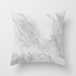 Marble Love Silver Metallic Throw Pillow