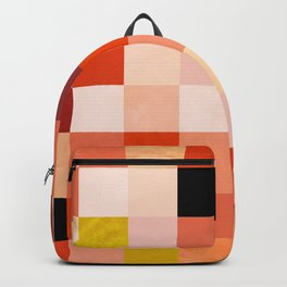 modern mid century checkers pattern coral Backpack