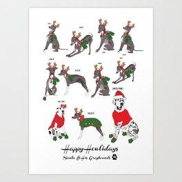 Happy Howlidays Dogs! Art Print